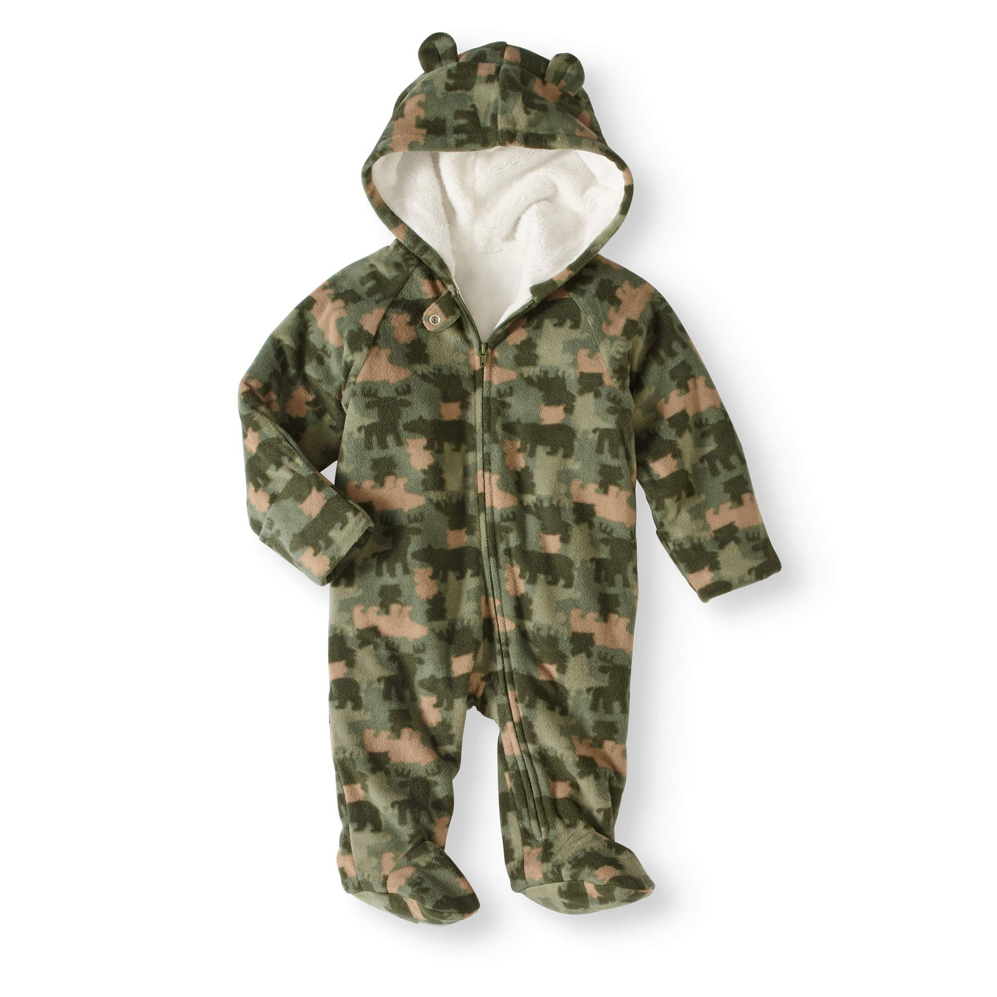 da460c44e Healthtex - Newborn Baby Boys  Fleece Eared Snowsuit Pram - Walmart.com