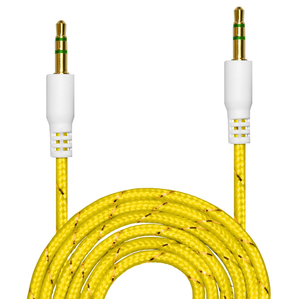 3 x Premium 3.5mm Nylon Tangle Free Auxiliary Aux 3 Feet Male to Male Stereo Audio Cable for Headphones, iPods, iPhones, iPads, Home / Car Stereos and More - Yellow