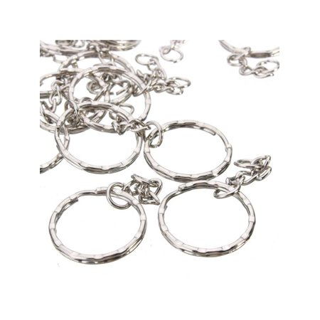 "50pcs Metal Split Key Ring Keyring Keychain Handbag Key Chains Key Holder 2.2"" 25mm Diameter Silver Tone"