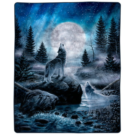 """Heavy Fleece Blanket with Howling Wolf Pattern- Plush Thick 8 Pound Faux Mink Soft Blanket for Couch Sofa Bed by Somerset Home (74"""" x 91"""")"""