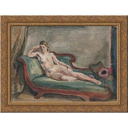 The Model. Sketch for painting 'Woman on the couch. 24x18 Gold Ornate Wood Framed Canvas Art by Pyotr Konchalovsky