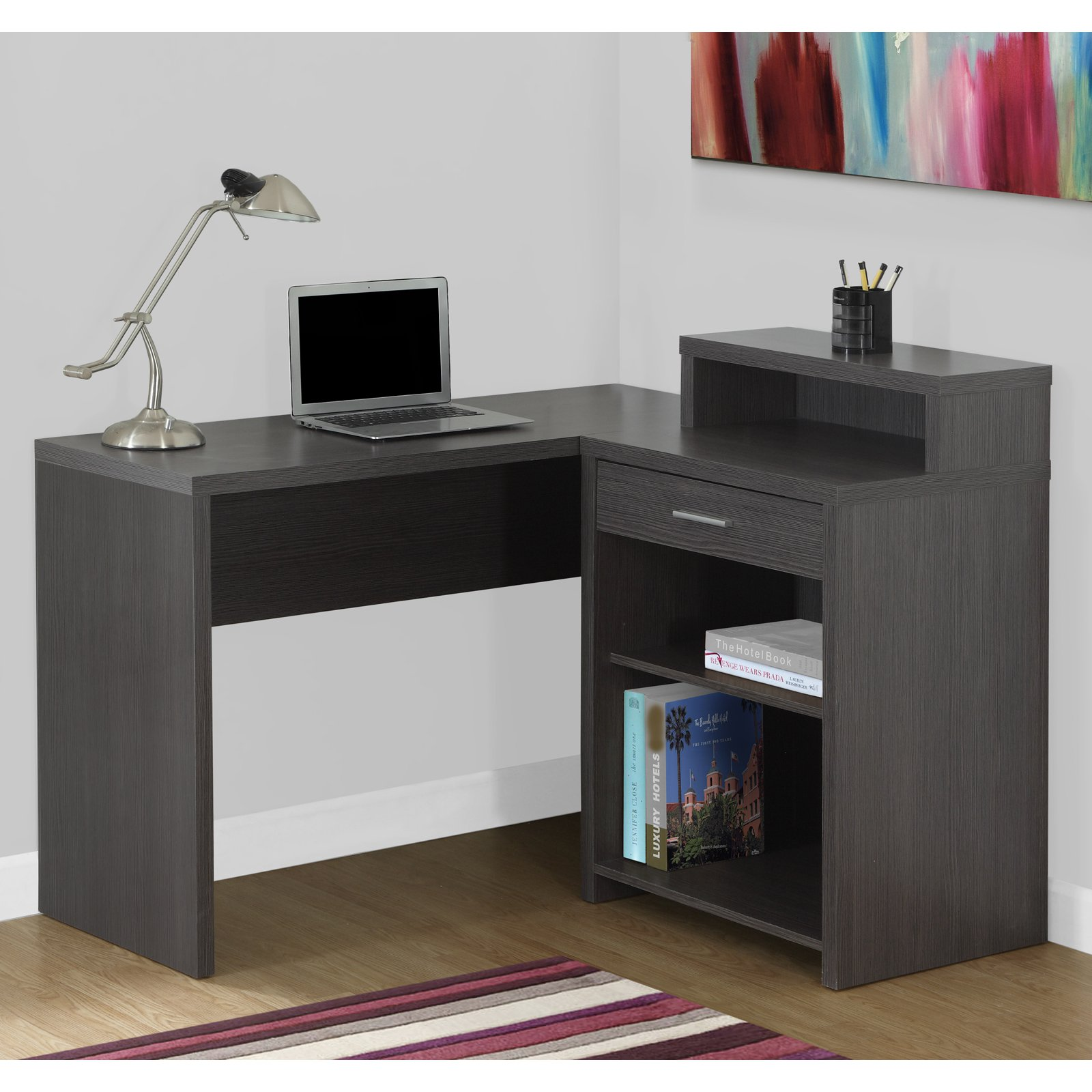 MONARCH - COMPUTER DESK - GREY CORNER WITH STORAGE
