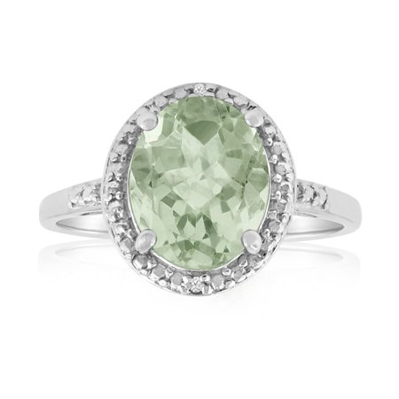 2 3/4ct Green Amethyst And Diamond Ring In Sterling Silver (Green Amethyst And Diamond Ring)