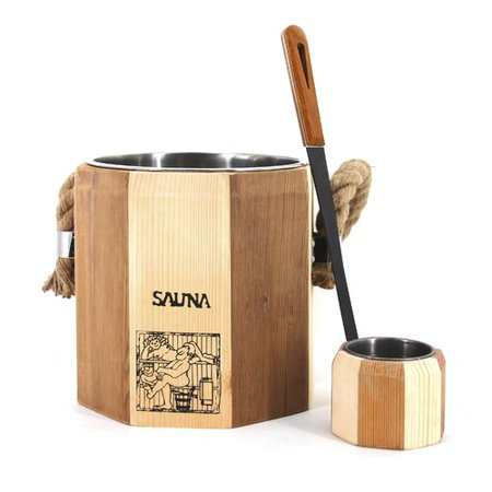 Aleko Handcrafted Wooden Sauna Ladle and Bucket Set