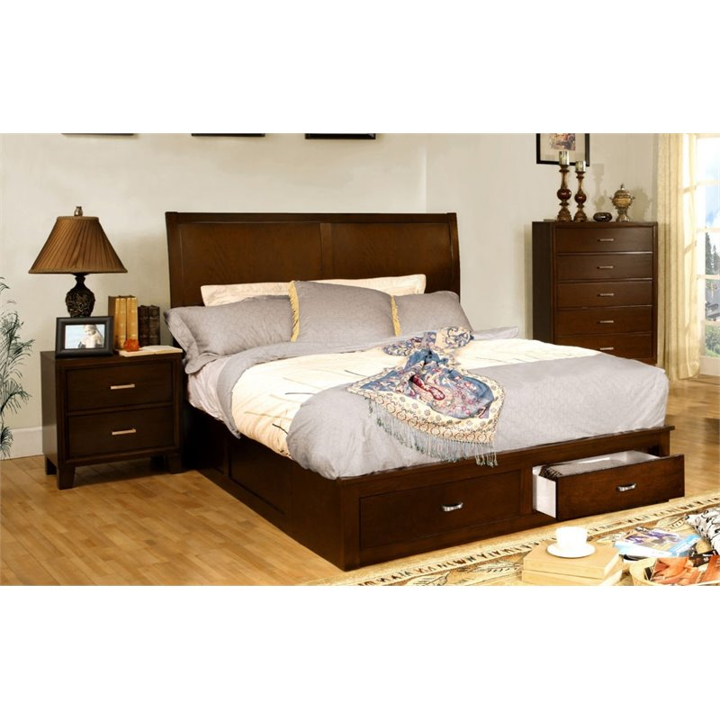 Furniture of America Ruggend 3 Piece Full  Storage Bedroom Set in Brown Cherry