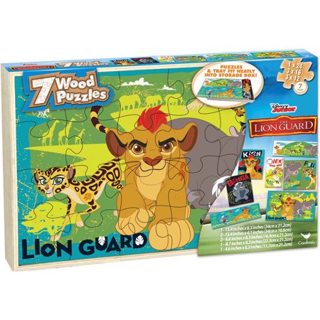 Disney Lion Guard Set Of 7 Wood Jigsaw Puzzles In Wood Storage Box