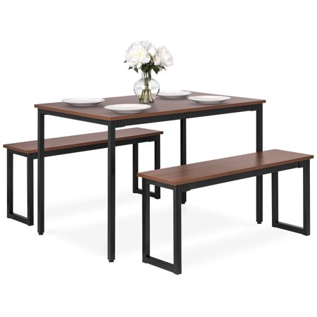Best Choice Products 3-Piece 4ft Wooden Modern Rectangular Soho Dining Table Set with 2 Benches, Steel Frame ()