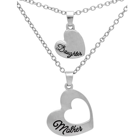 Art Attack Silvertone Mother Daughter Mom Love Heart Cutout BFF Best Friends Pendant Necklace Gift Set