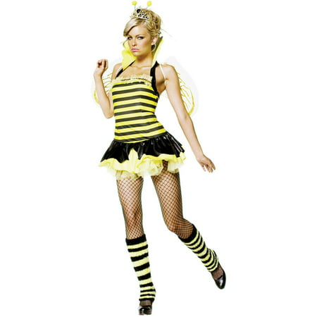Cute Bumble Bee Halloween Costume (Sassy Bumble Bee Queen 4 Piece Women's Adult Halloween Costume, One Size, XS)