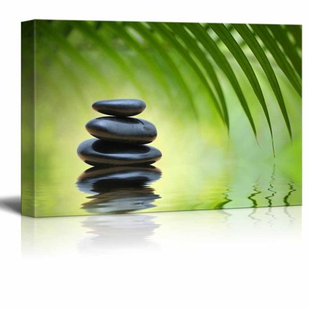 - wall26 Canvas Prints Wall Art - Green Bamboo Leaves Over Zen Stones Pyramid Reflecting in Water Surface for Spa Decor | Stretched Gallery Canvas Wrap Giclee Print. Ready to Hang - 16