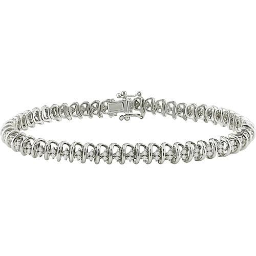 "Miabella 1 Carat T.W. Round Diamond Sterling Silver Bracelet, 7-1/2"""