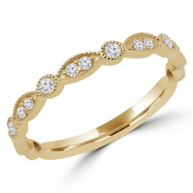 Majesty Diamonds MD170429-8.75 0.25 CTW Round Diamond Semi-Eternity Wedding Band Ring in 14K Yellow Gold - Size 8.75 - image 1 de 1