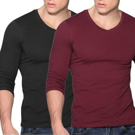 Fashion Mens Slim Fit V Neck Long Sleeve Muscle Tee T-shirt Casual Tops