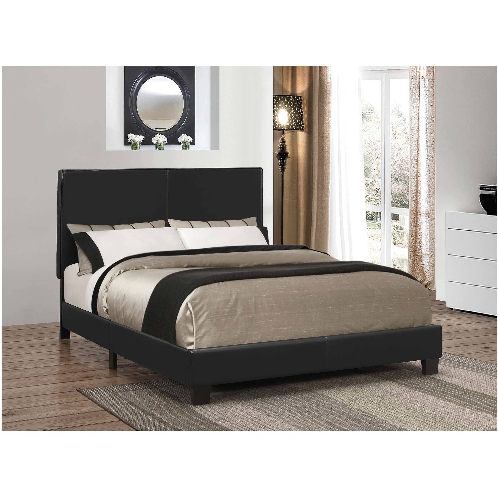 Coaster Company Mauve Upholstered Queen Bed, Black Leatherette
