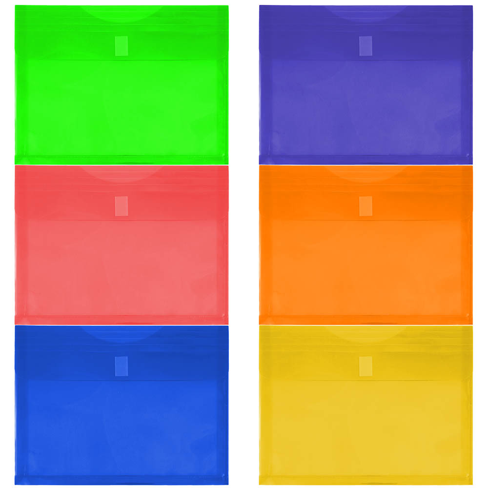 JAM Paper Plastic Envelopes with Hook & Loop Closure, 1 Expansion, Letter Booklet, 9 3/4 x 13, Assorted Colors, 6/pack