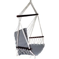 OMNI Patio Swing Seat Hanging Hammock Cotton Rope Chair With Cushion Seat - Gray