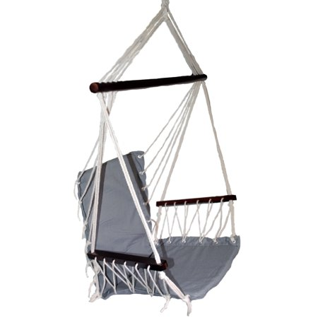 OMNI Patio Swing Seat Hanging Hammock Cotton Rope Chair With Cushion Seat - Gray ()