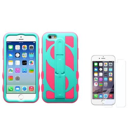 Insten Teal Green/Pink Dollar Hard Hybrid Stand Case For iPhone 6S / 6 4.7