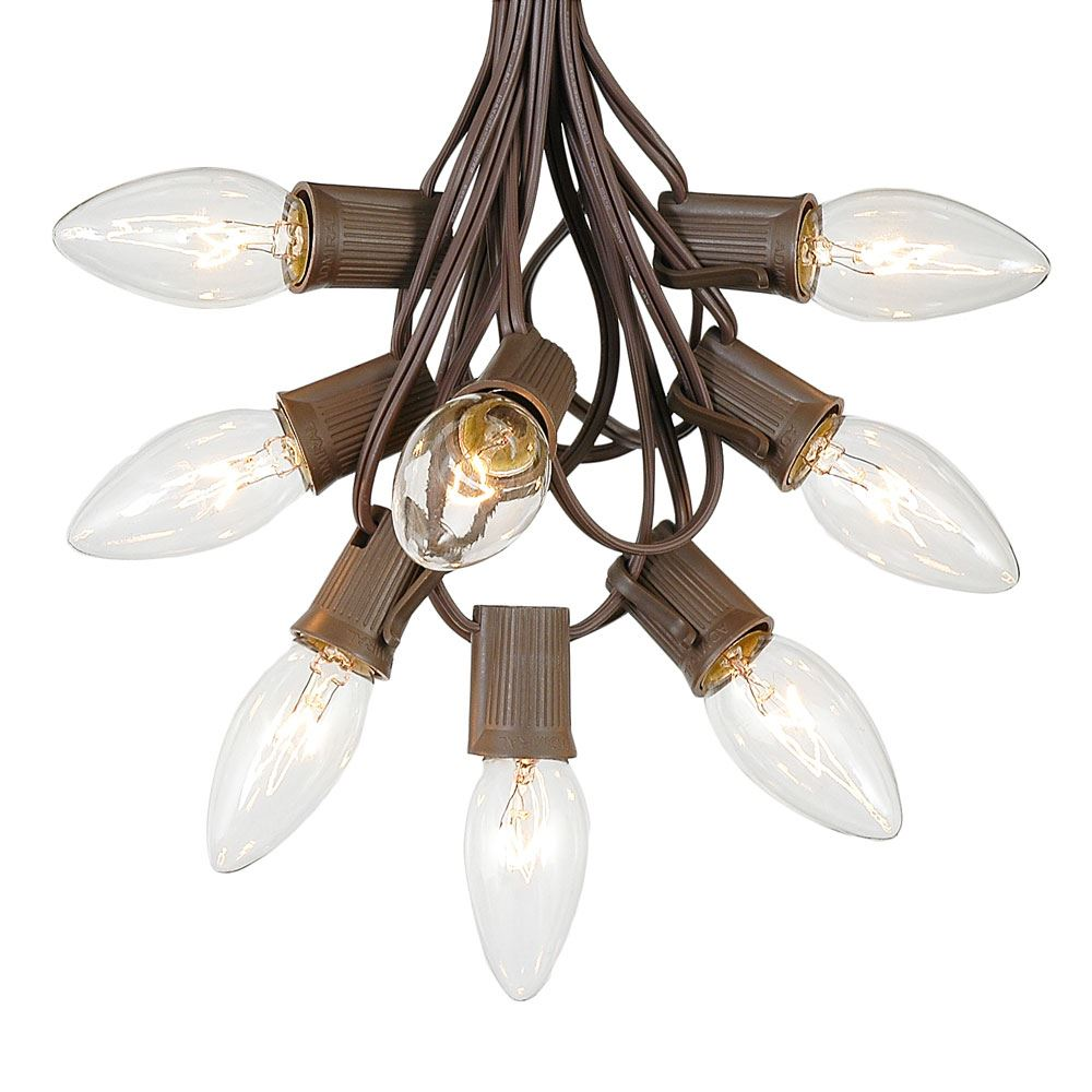 C9 Christmas String Light Set - Outdoor Christmas Light String - Christmas Tree Lights - Hanging Christmas Lights - Roofline Light String - Outdoor Patio String Lights -  Brown Wire - 25 Foot