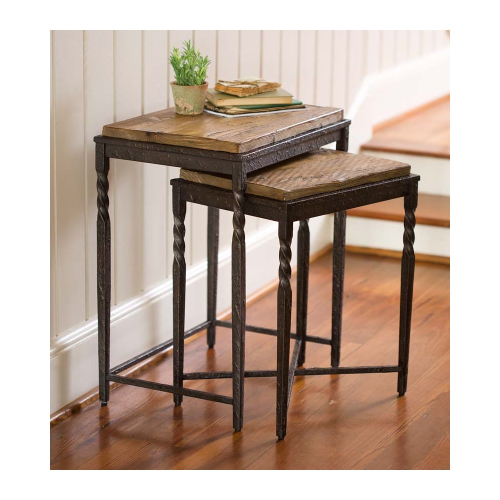 Metal & Wood Nesting Tables Set of 2