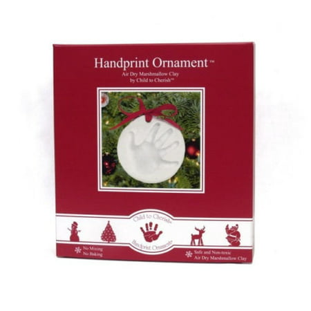 Child to Cherish Marshmallow Clay Handprint Ornament - Handprint Santa Ornament