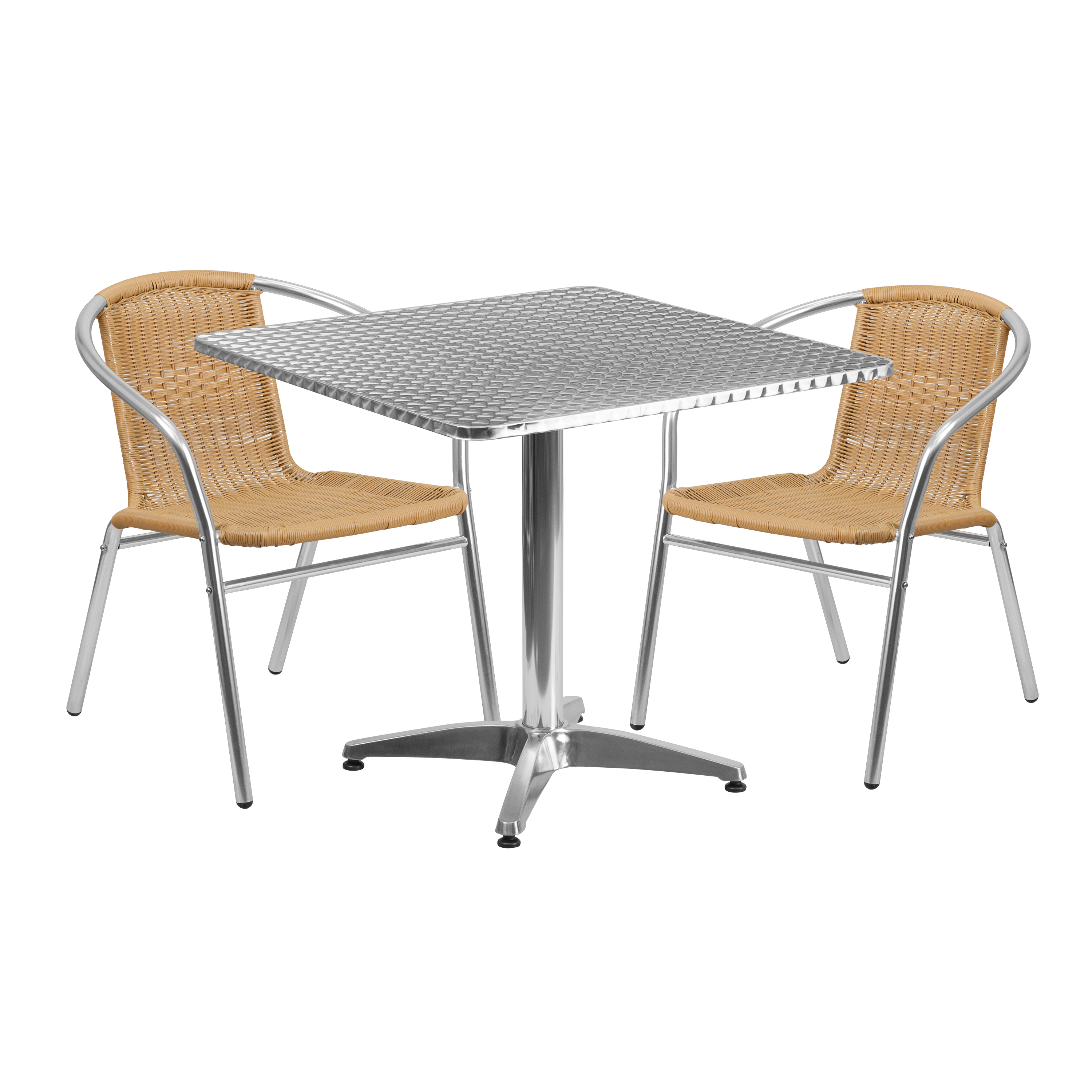 """Flash Furniture 31.5"""" Square Aluminum Indoor-Outdoor Table with 2 Rattan Chairs, Multiple Colors"""