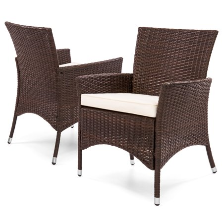 Best Choice Products Set of 2 Modern Contemporary Wicker Patio Dining Chairs for Backyard, Patio, Garden with Water-Resistant Cushions, Brown ()