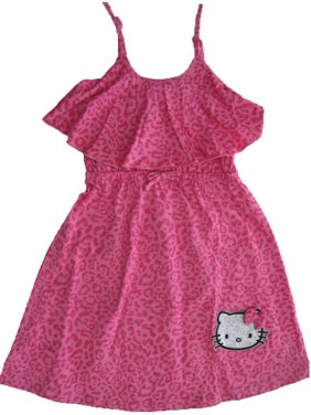 8f9ba22bd1fc4 Little Girls Fuchsia Spotted Bow Glittery Applique Dress 4-6X. Hello Kitty