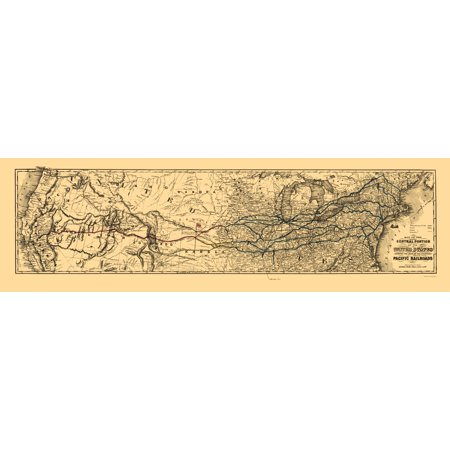 Old Railroad Map - Proposed Central United States to Pacific 1850 - 23 x 76
