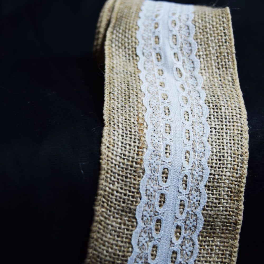 Quasimoon Burlap and Lace Style No.6 Fabric Wrap Roll (2.4 x 6 Ft) by PaperLanternStore