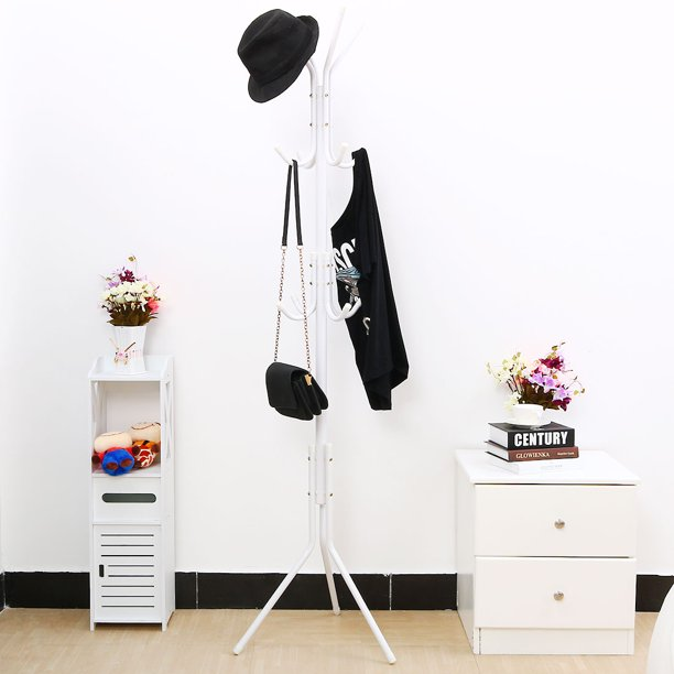 3-Tier Metal Coat Hat Rack Tripod Stand Hall Tree 12 Hooks