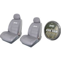 2 Gray  Synthetic Leather Sideless Seat Covers & Gray Steering Wheel Cover Set Car Truck SUV for Jeep