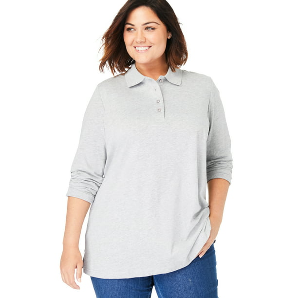 Woman Within Women's Plus Size Long-Sleeve Polo Shirt