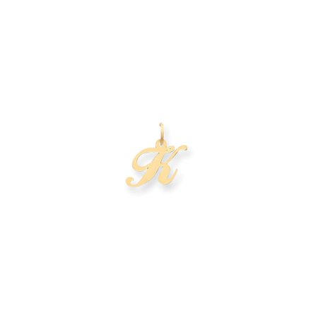 14k Yellow Gold Small Fancy Script Initial K Charm - .3 Grams - Measures 16.8x16.3mm