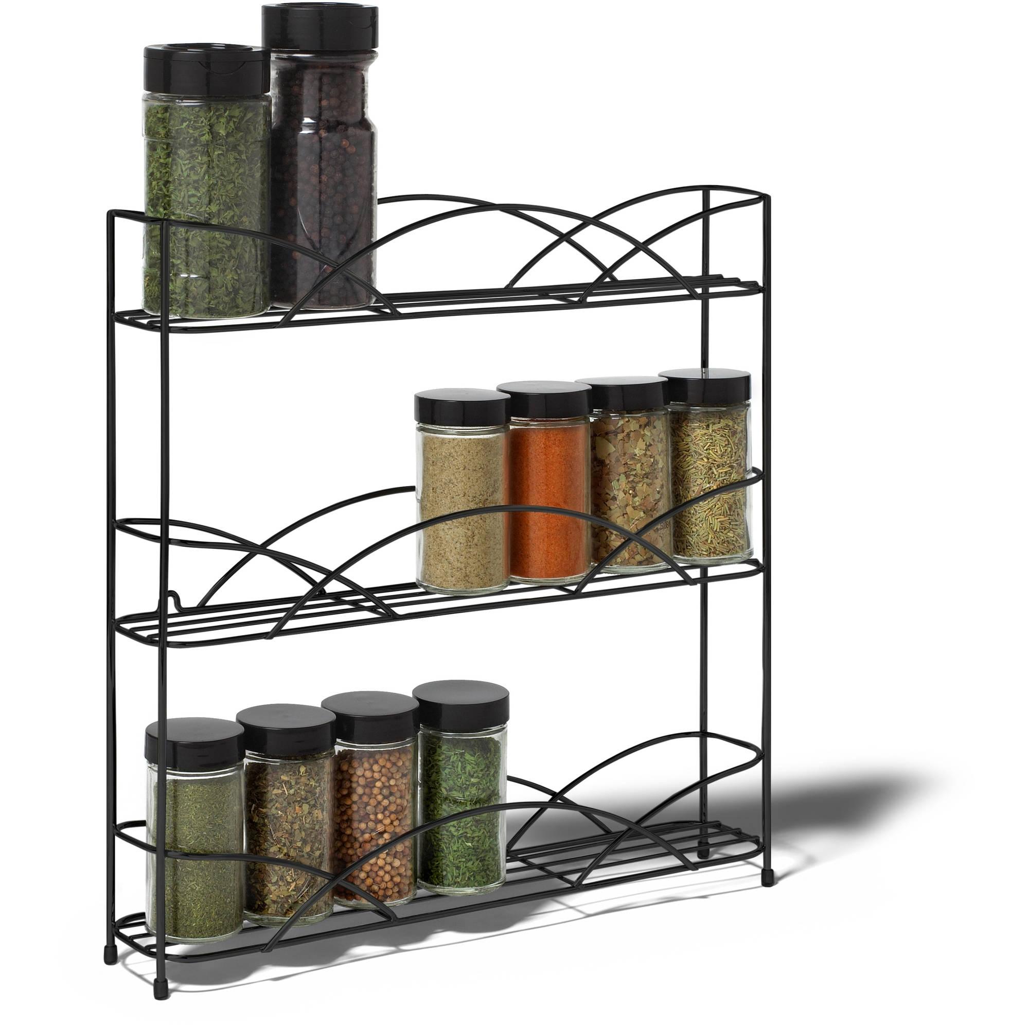 Wall Mounted Spice Rack spectrum diversified designs countertop 3-tier spice rack, black