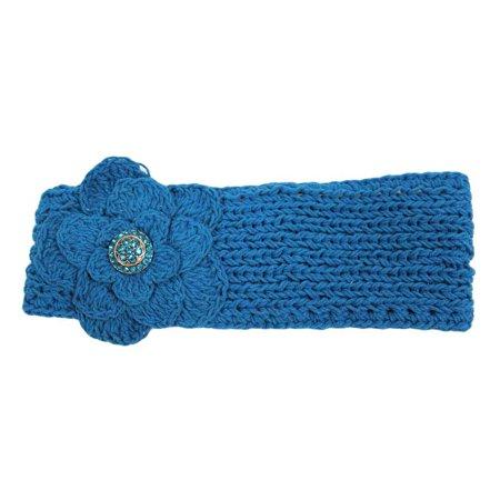 Hand Knit Headband With Rhinestone Flower