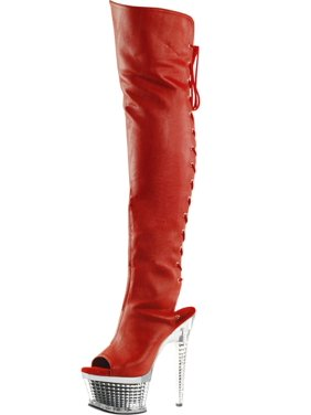 6bf1359021ae Product Image Womens Red Over the Knee Boots Open Toe Shoes Textured  Platform 6 1 2 Inch