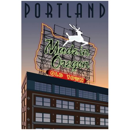 Portland, Oregon - Made In Oregon Sign, C.2009 Poster - (Made In Portland)