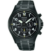 Mens Solar Chronograph Stainless Steel Case and Bracelet Black Dial Black Watch - PX5039