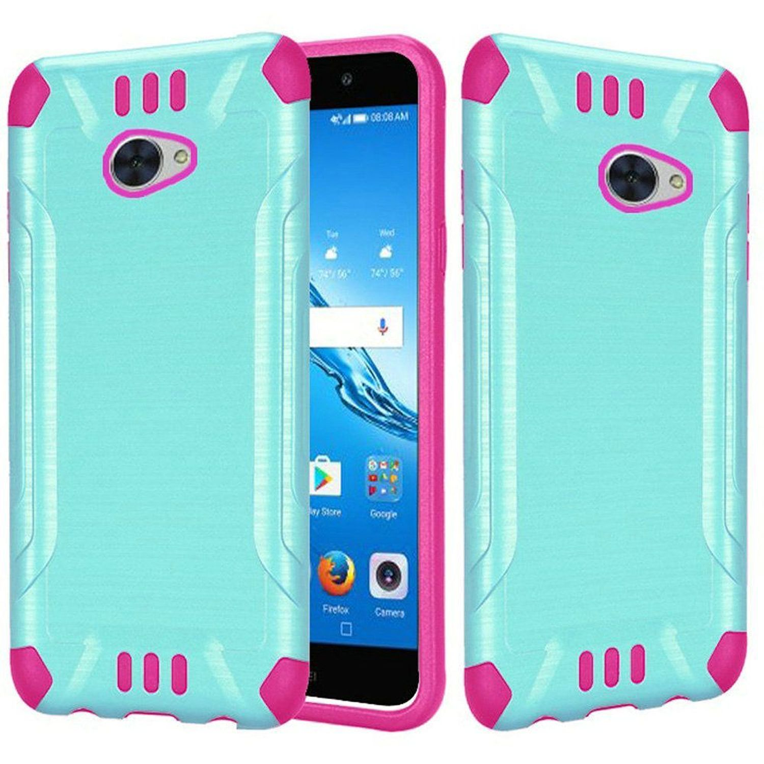 Huawei Ascend XT2 Case, by HR Wireless Slim Armor Dual Layer [Shock Absorbing] Hybrid Brushed Hard Plastic/Soft TPU Rubber Case Cover For Huawei Ascend XT2, Teal/Hot Pink