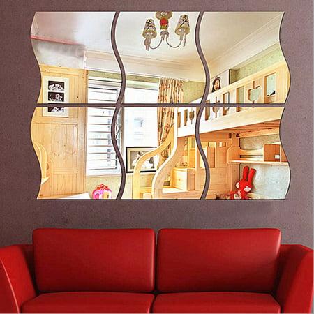 18 PCS Self Adhesive Flexible 3D Mirror Wall Stickers Acrylic Vinyl DIY Art Mural Decoration for Bedroom Living Room Bathroom Home Decor ()