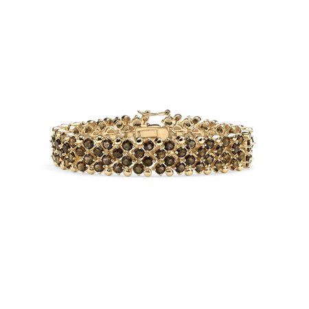 - 20 TCW Round Smoky Quartz Tennis Bracelet in 14k Gold-Plated