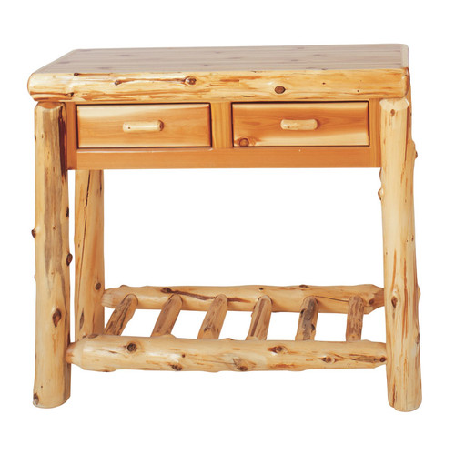 Fireside Lodge Traditional Cedar Log Two Drawers Console Table