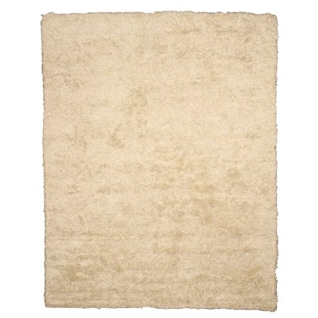 Handwoven Wool & Viscose Ivory Contemporary Solid Shaggy Rug