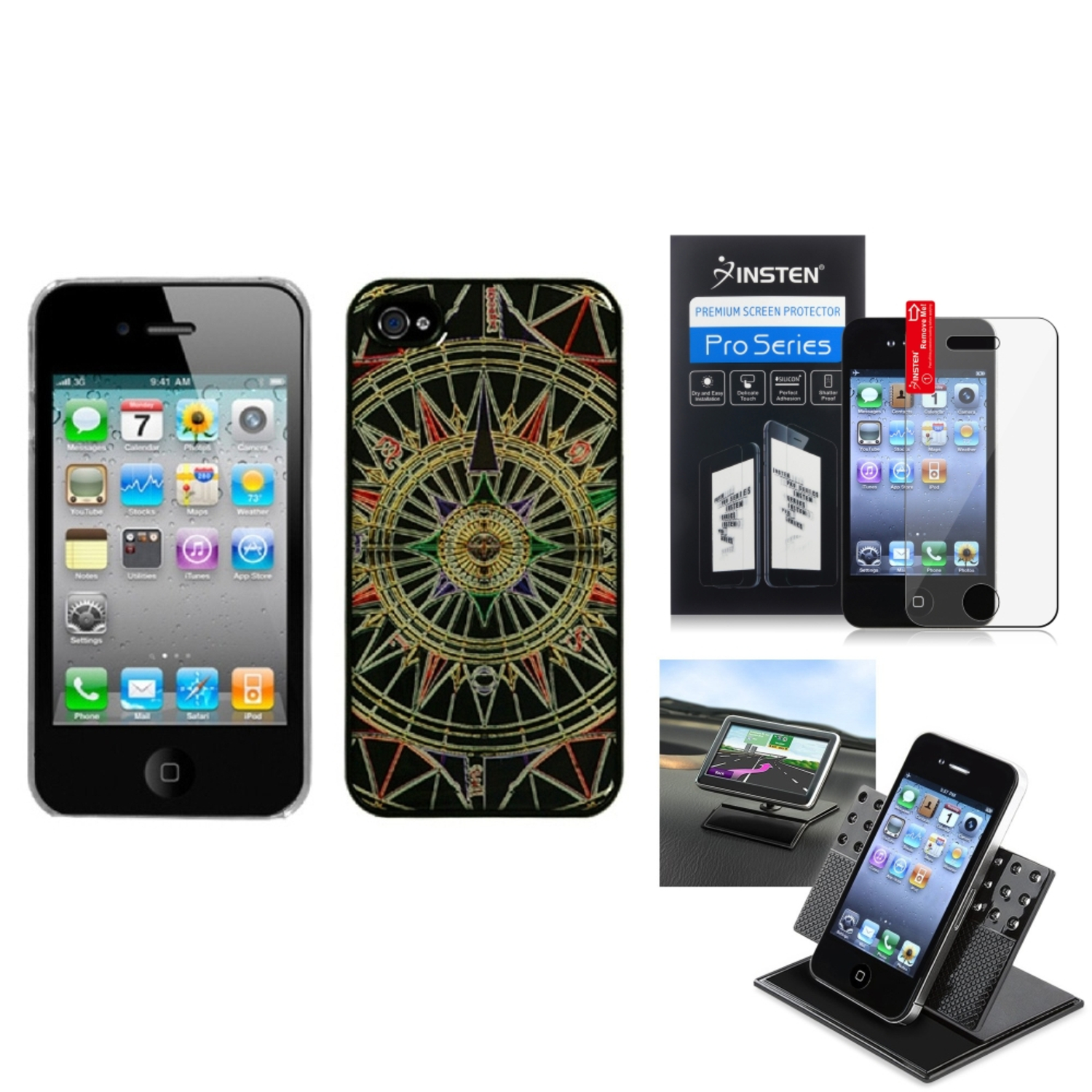 Insten Film+Holder+Star Compass Dream Back Case Cover For APPLE iPhone 4S/4
