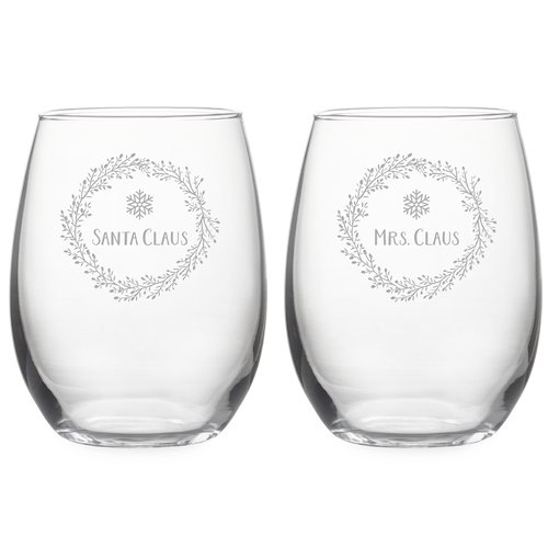 The Holiday Aisle Santa & Mrs Claus Wreath 2-Piece Stemless Wine Glass Set