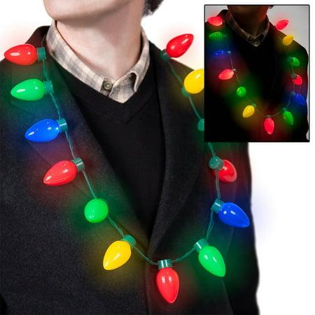 Retro Light Up Christmas Bulb Necklace Flashing LED Lights Christmas Gift, Retro Light Up Christmas Bulb Necklace Flashing LED Lights By Forum Novelties](Flashing Christmas Light Necklace)