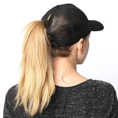PONYTAIL BASEBALL HAT BLACK PONYCAP ADJUSTABLE TRUCKER MESSY HIGH BUN MESH CAP WOMENS PONY TAIL SLOT (Ashton Kutcher Trucker Hat)