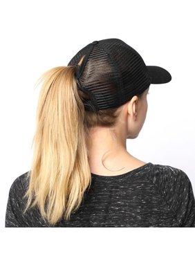 PONYTAIL BASEBALL HAT PONYCAP ADJUSTABLE TRUCKER MESSY HIGH BUN MESH CAP WOMENS PONY TAIL SLOT HAT