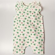 BGSRKM69 Sleeveless Butterfly Romper - White with butterfly prints, 6-9 months